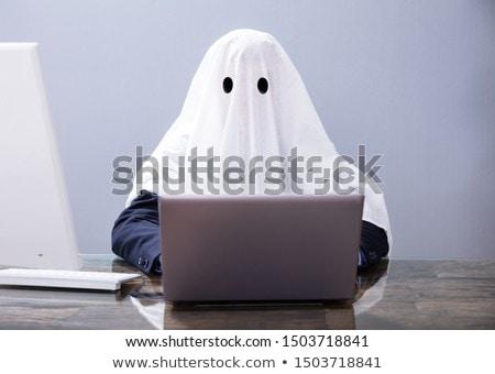 Ghostwriter Wooden Block On Computer Keyboard Stock photo © AndreyPopov