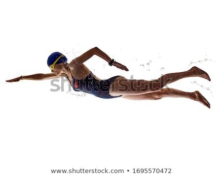 Nő úszó stúdió fehér lány háttér Stock fotó © Lopolo