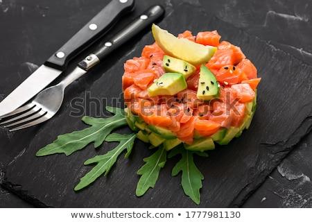Lazac avokádó nyers tányér diéta étel Stock fotó © tycoon