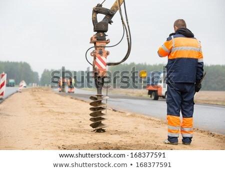 Férfi lyuk beton cső építkezés ipar Stock fotó © Roka