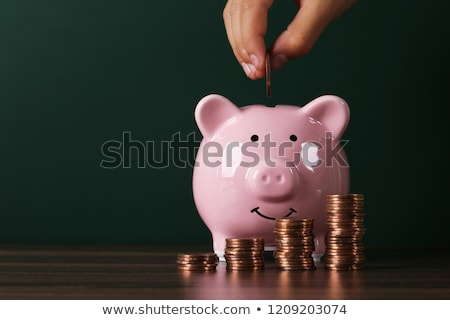 Baby with money in piggy bank Stock photo © Pasiphae