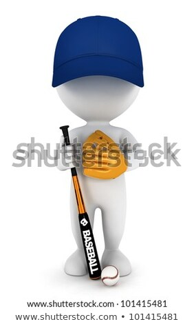 3d White People Baseball Player With A Bat ストックフォト © 3dmask