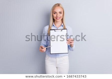 boldog · nő · tart · üres · papír · fehér · papír - stock fotó © deandrobot