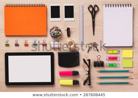 Tiszta asztal irodaszerek laptop jegyzettömb ceruza Stock fotó © ozgur