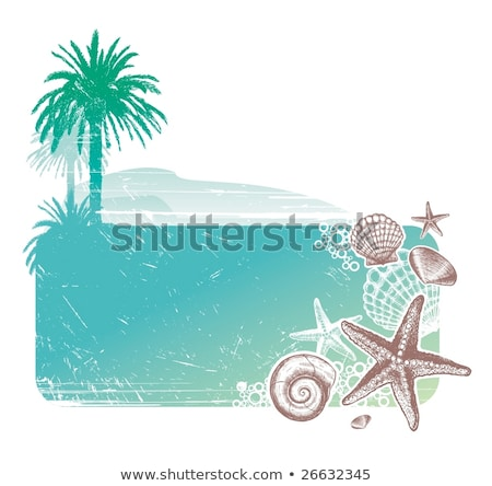 Deniz kabuk el deniz manzarası mavi gökyüzü ağaç Stok fotoğraf © bank215
