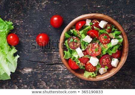 Paradicsom saláta tányér asztal konyha olaj Stock fotó © tycoon