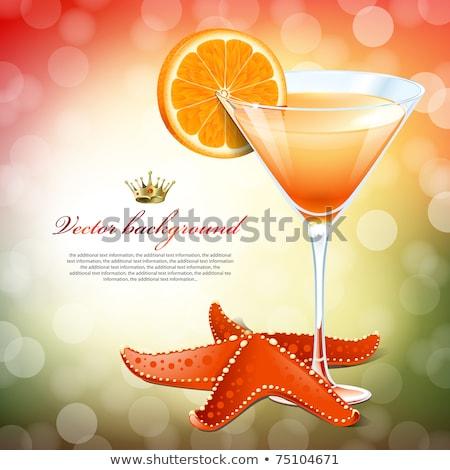 piros · koktél · pezsgő · üveg · funky · eper - stock fotó © robuart