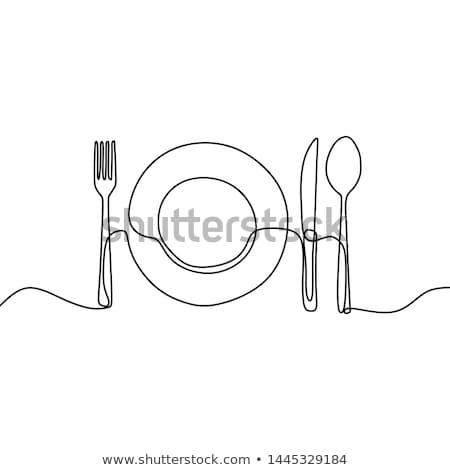 Plat coutellerie illustration plaque déjeuner Photo stock © adrenalina