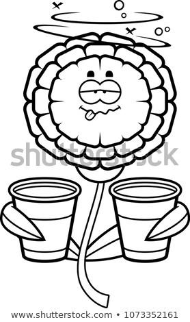 Dronken cartoon illustratie naar bloem water Stockfoto © cthoman