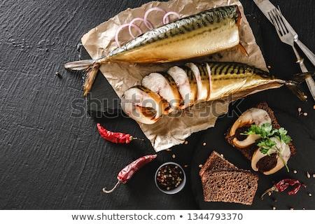 füstölt · hal · kő · oldalnézet · olaj · vacsora - stock fotó © masay256