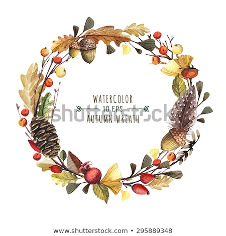 Watercolor autumn floral frame of oak leaves Stock photo © Artspace