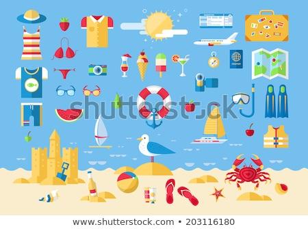 Utazás jegyek kamera kalap tengerparti homok vakáció Stock fotó © dolgachov