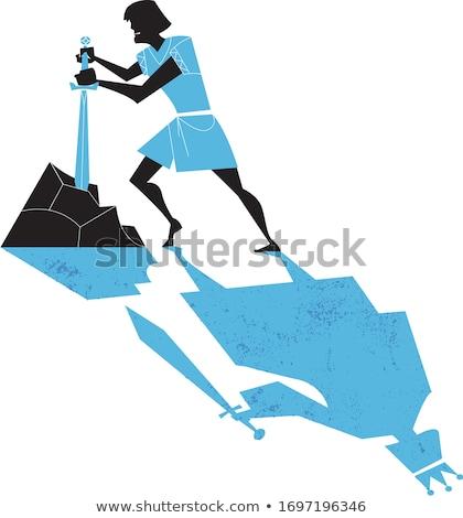 Koning zwaard dapper krijger hand illustratie Stockfoto © jossdiim