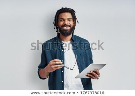 Fiatal elegáns férfi afrikai nemzetiség okos Stock fotó © pressmaster