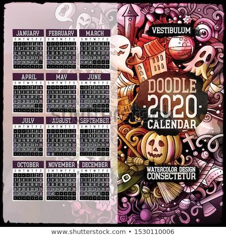 Cartoon colorful hand drawn doodles Halloween 2020 year calendar Stock photo © balabolka