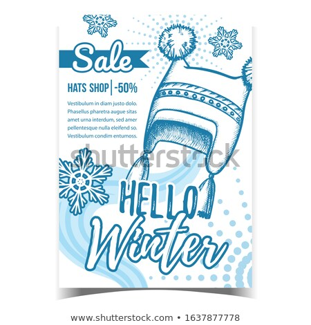 Winter Cap Seasonal Warmer Wear Monochrome Vector Stock photo © pikepicture