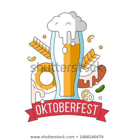 Oktoberfest simple ribbon with beer mug and sausage Stock photo © barsrsind