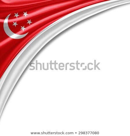 Szingapúr zászló szöveg vektor város boldog Stock fotó © barsrsind
