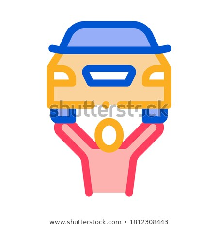 Stock foto: Mann · Auto · Symbol · Vektor · Gliederung · Illustration