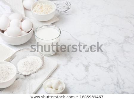 friss · tejtermékek · fehér · asztal · üveg · bögre - stock fotó © DenisMArt