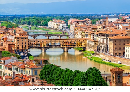 Stok fotoğraf: View Of Stone Bridge Over Arno River In Florence Tuscany Italy