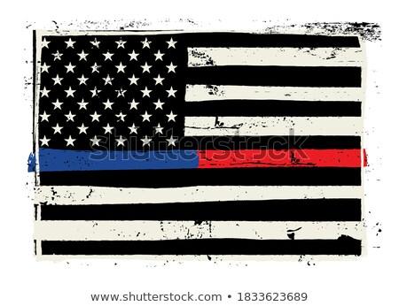 Polícia bombeiro apoiar bandeira ilustração Foto stock © enterlinedesign