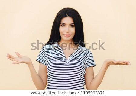 Imádnivaló barna hajú fiatal női vállak talál Stock fotó © vkstudio