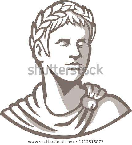 Oude Romeinse keizer buste mascotte icon Stockfoto © patrimonio