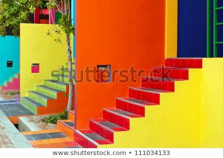 Detalle colorido casa fachada principal cuadrados Foto stock © elxeneize