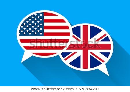 Dos blanco americano gran bretaña banderas Foto stock © evgeny89