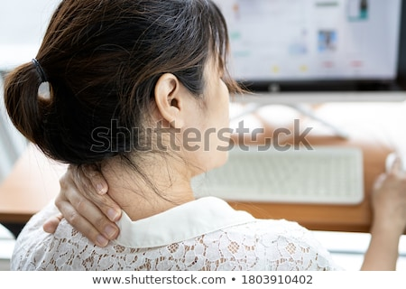 Işkadını omuz ağrısı çalışma bilgisayar büro ofis Stok fotoğraf © AndreyPopov