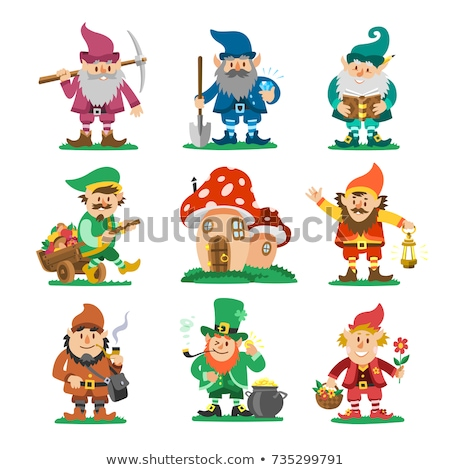 Set of fairy tale and gnome fantasy cartoon character  on white  Stock photo © bluering