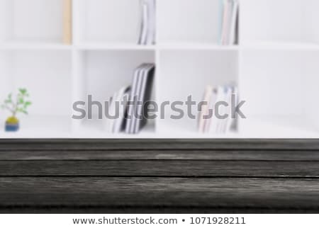 Selected Focus Empty Black Wooden Table And Library Or Bookstor Сток-фото © Freedomz