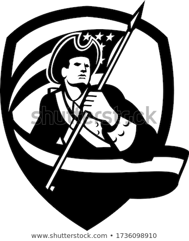 American Patriot Revolutionary Soldier Waving USA Flag Crest Retro Black and White Stock photo © patrimonio