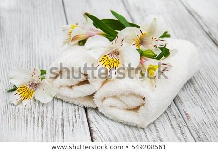 Spa towels and alstroemeria flowers Stock photo © almaje