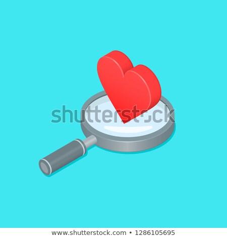 Hangszer szív izometrikus ikon vektor felirat Stock fotó © pikepicture