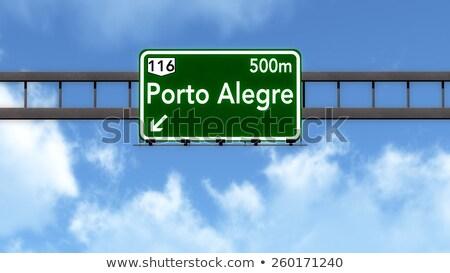 Сток-фото: шоссе · знак · зеленый · Бразилия · облаке · улице · знак