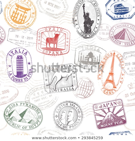 Foto stock: Famous Destinations Stamps