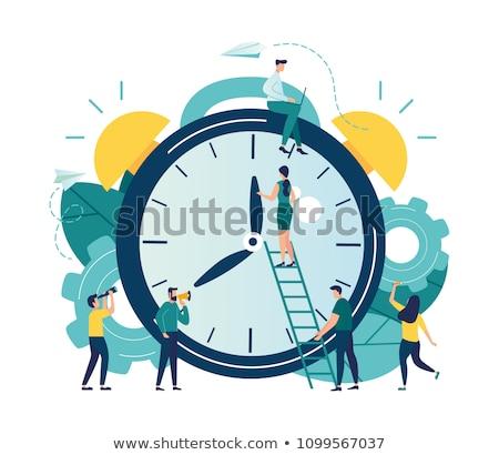 Photo stock: Temps · équipe · horloge · mots · blanche · travaux