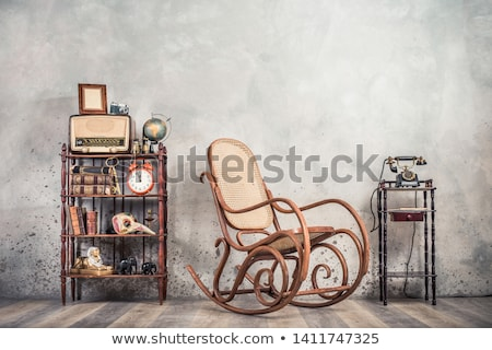 Stockfoto: Old Wooden Chair And Old Wooden Globe