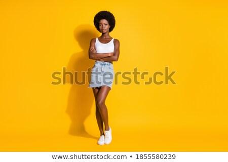 Stock fotó: Gyönyörű · kisebbségi · divat · modell · fekete · miniszoknya