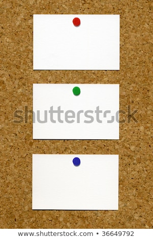 Three blank white business cards attached to a cork notice board. Stock photo © latent