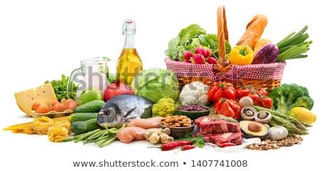 élelmiszerek paradicsomok fokhagymás kenyér egészség kenyér piros Stock fotó © OleksandrO