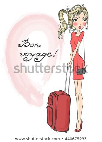 Stok fotoğraf: Sarışın · kırmızı · bavul · kız · oturma · kadın