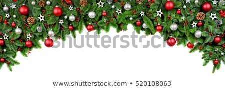 christmas border decorations on white stock photo © frannyanne