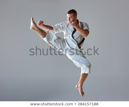 Stock photo: Karate man in combat position I