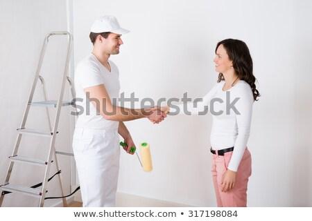 boldog · pár · lakásfelújítás · tart · festmény · szerszámok - stock fotó © photography33