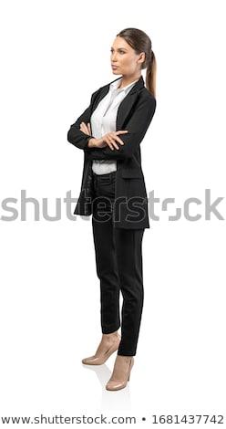 femme · d'affaires · regarder · côté · isolé · blanche · heureux - photo stock © feedough