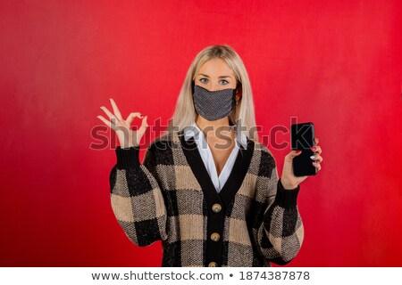 femme · d'affaires · signe · jeunes · isolé · blanche - photo stock © feedough