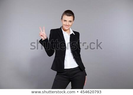 femme · d'affaires · victoire · signe · portrait · heureux - photo stock © feedough